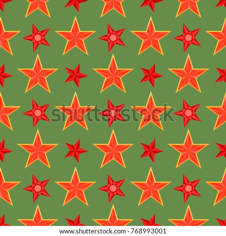 red five pointed stars on green ...