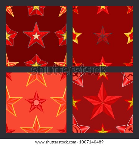 red five pointed stars on red...