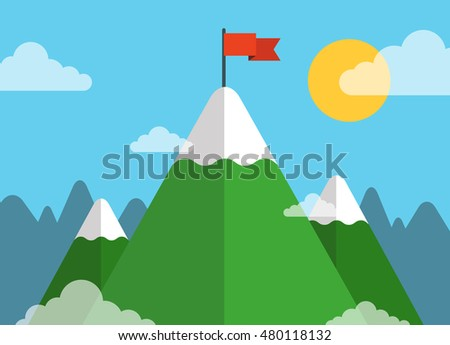 red flag on a mountain peak