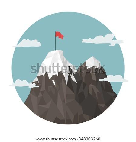 red flag on a mountain peak
