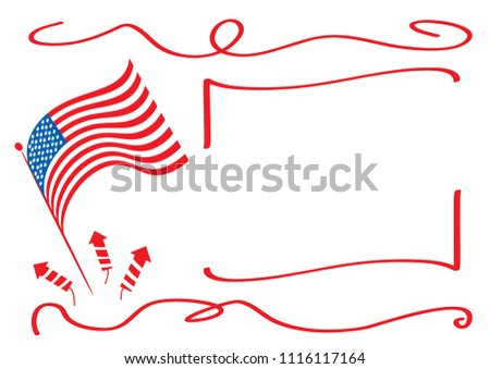 Red flag on white background with frames an holliday rockets