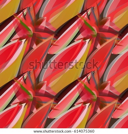 Red floral seamless pattern with exotic flowers and buds. Bright distinct floral texture in vivid red and mustard color