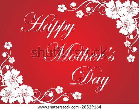 Red Flower Design Mother Day Greeting Card Stock Vector