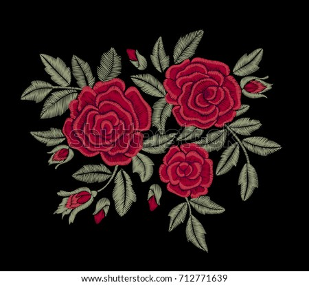 Red flower. Embroidery.
