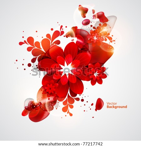 red flower with abstract