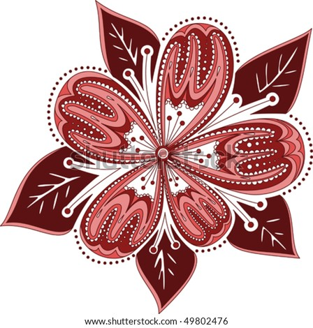 Red Flower With Beautiful Ornament Stock Vector 49802476
