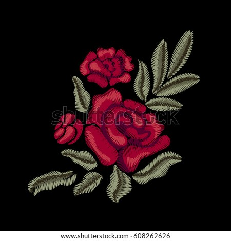 Red flowers. Roses. Embroidery. Vector floral print.