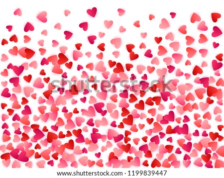 Red flying hearts bright love passion vector background. Amour icons wallpaper. Cartoon confetti love symbols pattern. Marvellous flying red hearts scatter wedding Day decor.