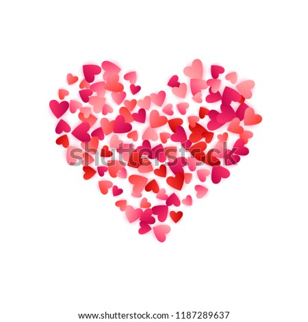 Red flying hearts bright love passion vector background. Amour wallpaper. Romantic elements confetti. Trendy flying red hearts scatter for invitation card.