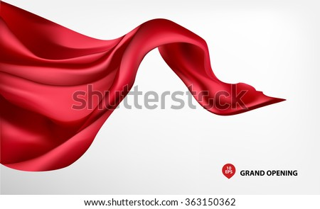 Red flying silk fabric on white background for grand opening ceremony