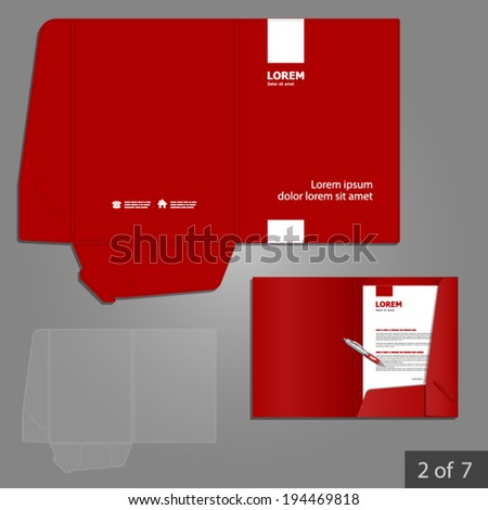 Red folder template design for company with white square elements. Element of stationery.
