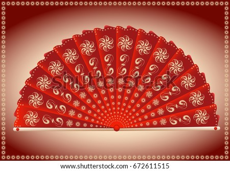 red folding fan japanese style