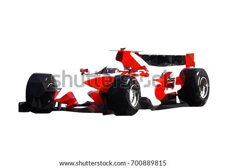 Red Formula Racing Car, Abstract Geometric Vector Silhouette