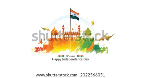 Red Fort background for 15 August India independence day concept