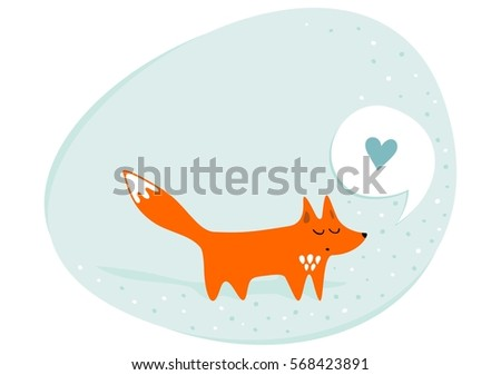 red fox in love animals cartoon