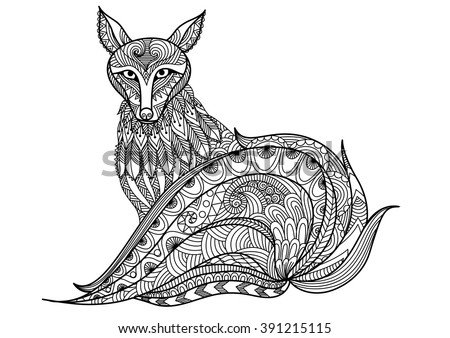Red fox line are design for tattoo t shirt design for Red fox coloring page