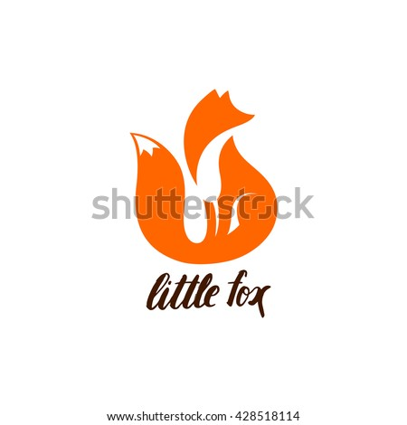Red Fox Sitting and Looking Away. Vector Logo with Negative Space. Laconic Symbol for Icons, Logos, Badges and Emblems.