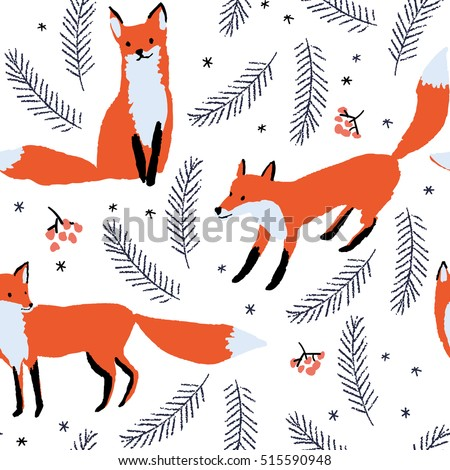 red foxes  berries and spruce