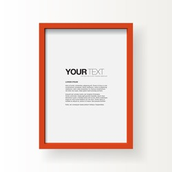 Red frame on a wall vector background design for your content