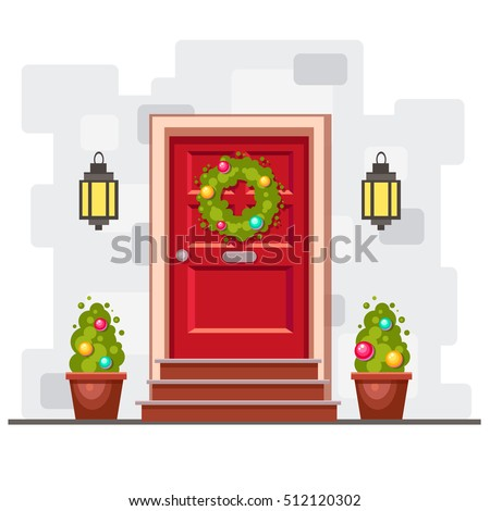red front door on the gray