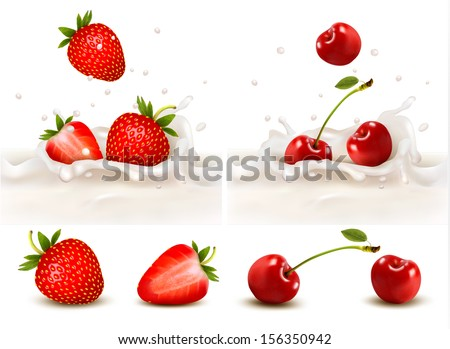 red fruits falling into the