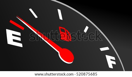 Red fuel gauge showing empty tank. Vector fuel indicator on black background.