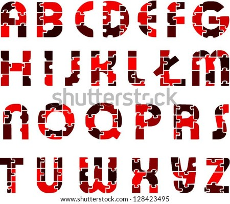 red funny alphabet letters made