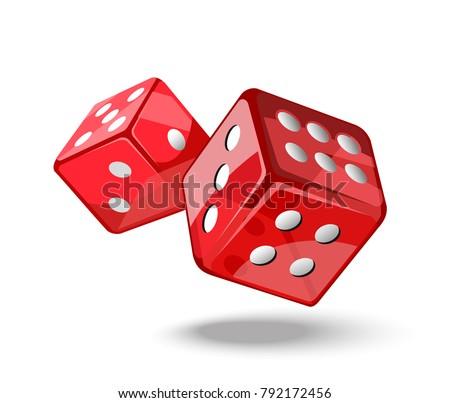 Red game dice in flight. Casino gambling. Vector