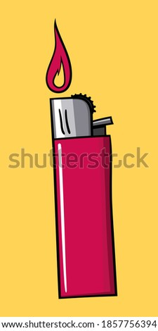 Red Gas Lighter with fire ストックフォト ©