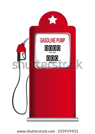 red gasoline pump isolated over white background. vector