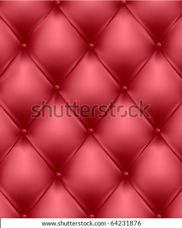 Red genuine leather upholstery. Vector Illustration.