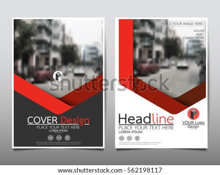 Red geometric flyer cover business brochure vector design, Leaflet advertising abstract background, Modern poster magazine layout template, Annual report for presentation