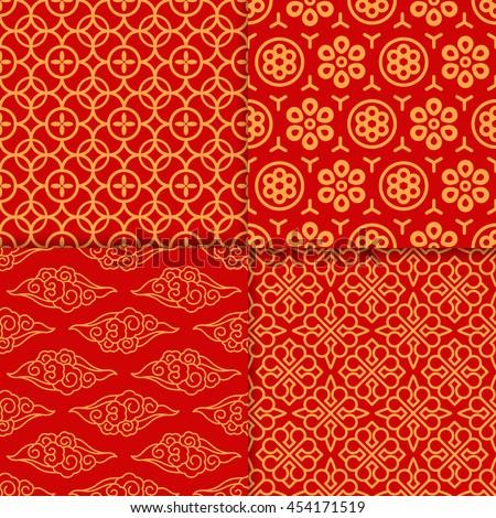 red geometric oriental pattern
