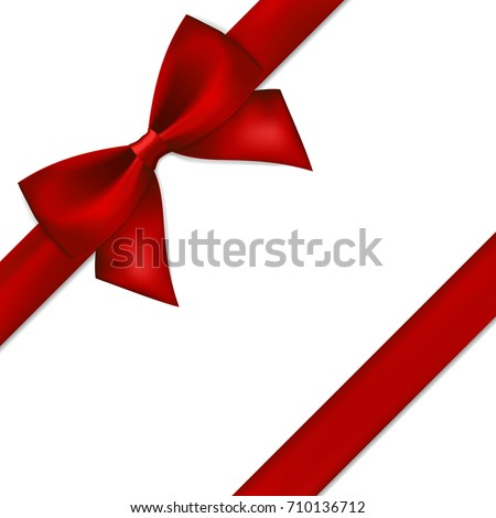 Red gift bow and ribbon.