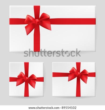 Red gift bow. Illustration on white background for design - stock vector