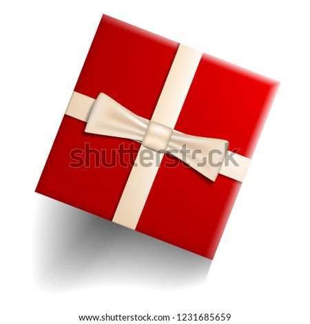Red gift box icon. Realistic illustration of red gift box vector icon for web design isolated on white background #1231685659