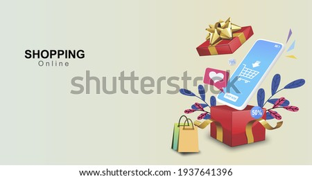 Red gift box with golden ribbon Open party gift box shopping poster With smartphone Modern online shopping ideas