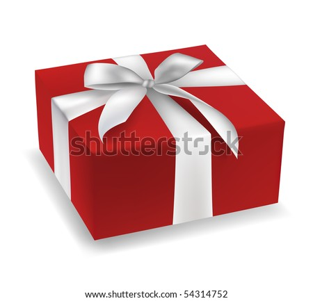 Red gift box with white satin ribbon vector illustration.
