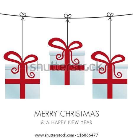 red gift boxes hanging on a twine - stock vector