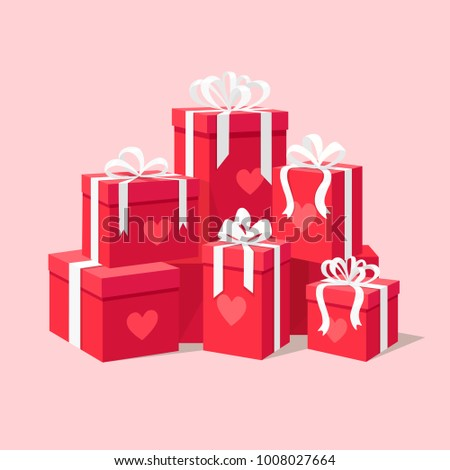 Red gift boxes with ribbon, bow for Valentines day isolated on background. Big pile of presents with heart, surprises set, prizes. To love shopping. Vector illustration Flat cartoon style design