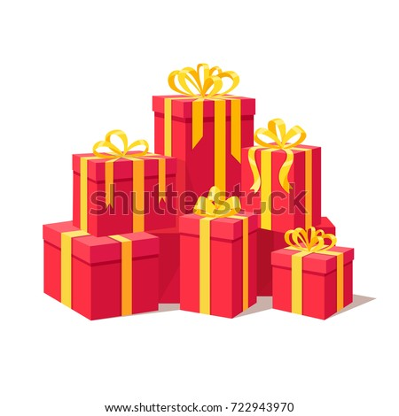 Red gift boxes with ribbon, bow set isolated on white background. Big pile of presents, prizes, surprises. Christmas, birthday concept. Vector illustration. Flat style design