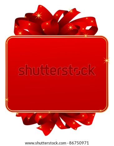 red gift card with bow
