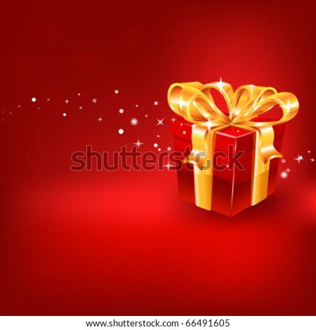 Red gift on red background. vector - stock vector