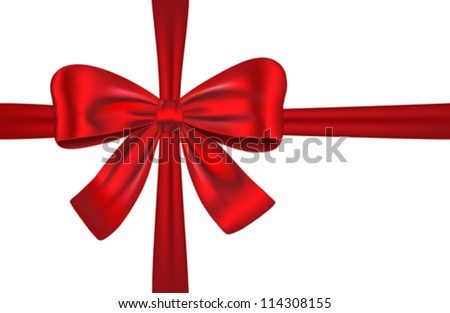 Red gift ribbon with bow isolated. Vector illustration