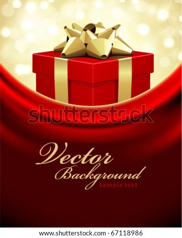 Red gift with gold bow Valentines day vector background