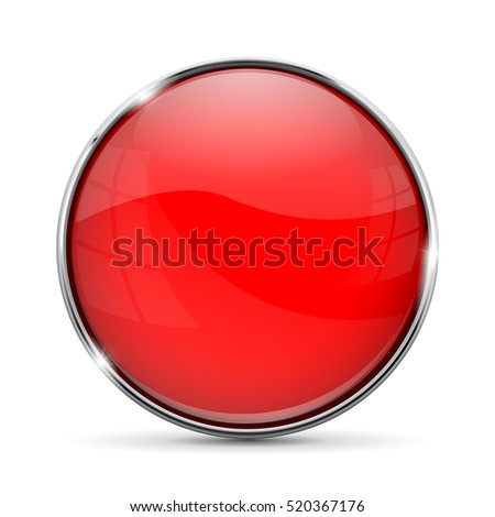 Red glass button with chrome frame. Vector illustration isolated on white background