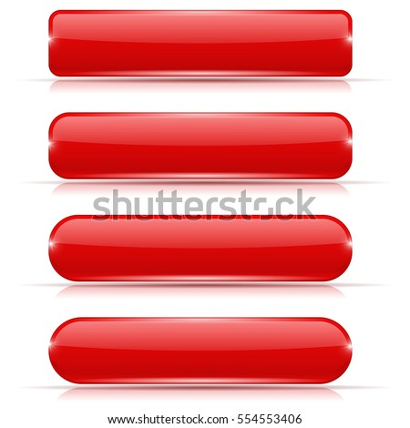 Red glass buttons. Rectangle and oval web icons. Vector 3d illustration isolated on white background.