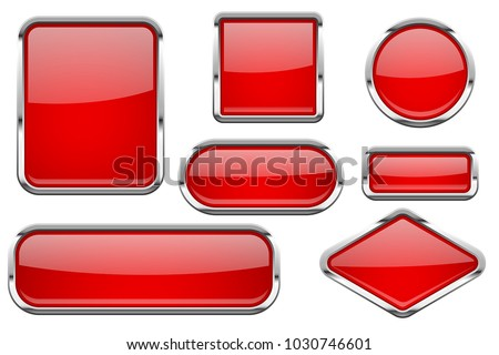 Red glass buttons with chrome frame. Colored set of shiny 3d web icons. Vector illustration isolated on white background