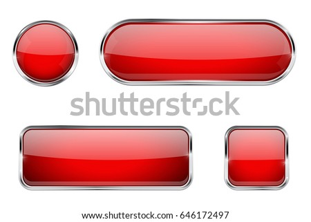 Red glass buttons with chrome frame. Vector 3d illustration isolated on white background