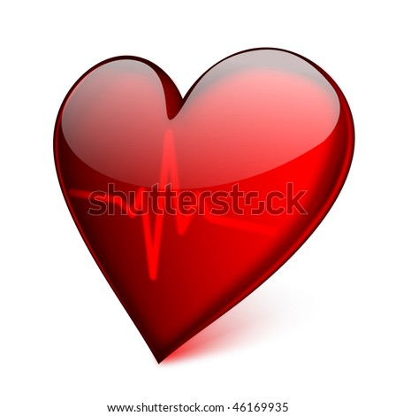 stock vector : Red glass heart with cardiogram - EPS 10 vector icon.